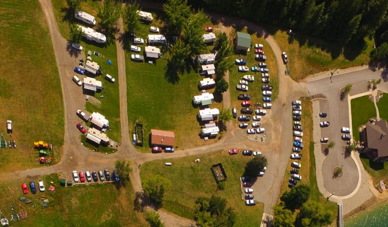 Aerial view of a busy summer in RV campground